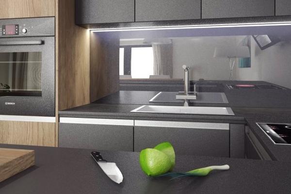 Zrkadlo použité v modernej kuchyni
