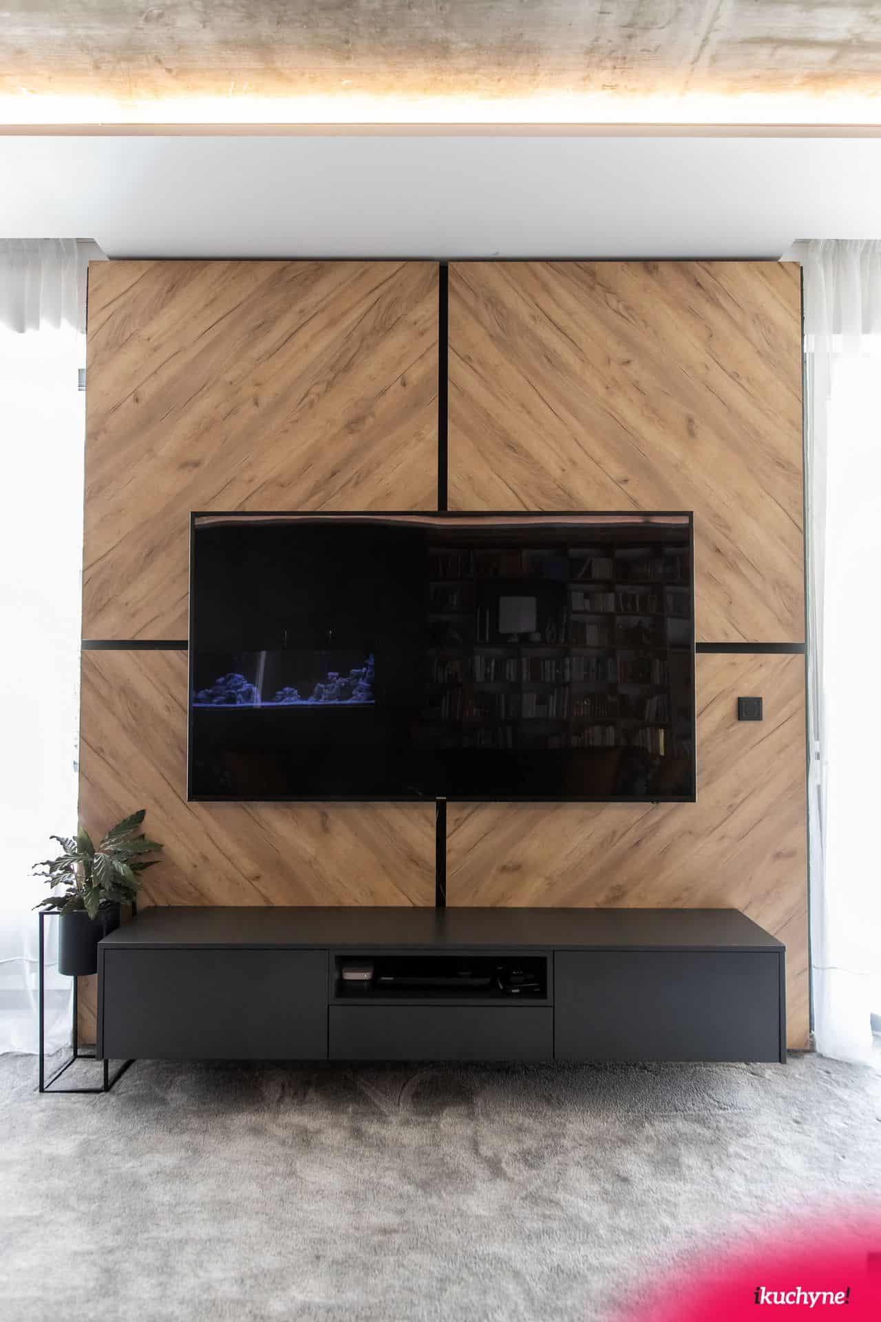 antracitová TV skrinka
