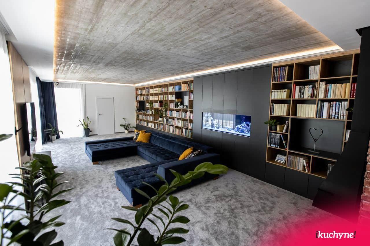 obývačková zostava s knižnicou