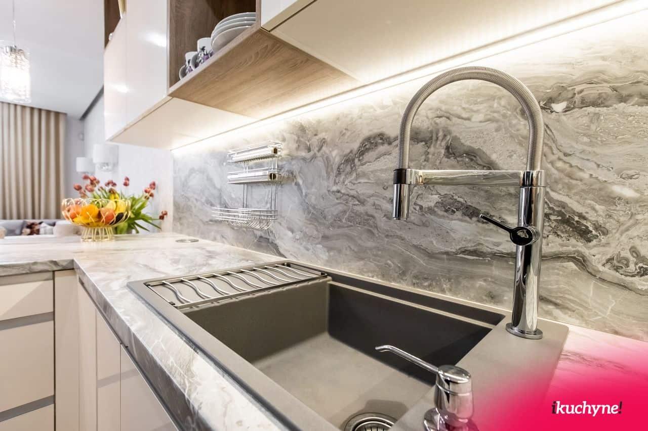 Biela kuchyna mramor drez ELON XL 6S
